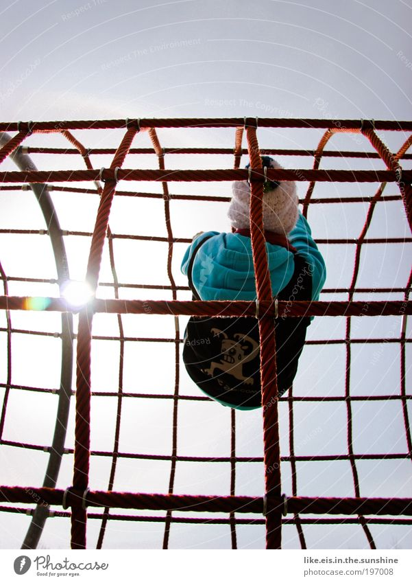 Human being Youth (Young adults) Red Sun Playing Power Tall Rope Climbing Net Beautiful weather Cap Interlaced Cloudless sky Playground Clothing