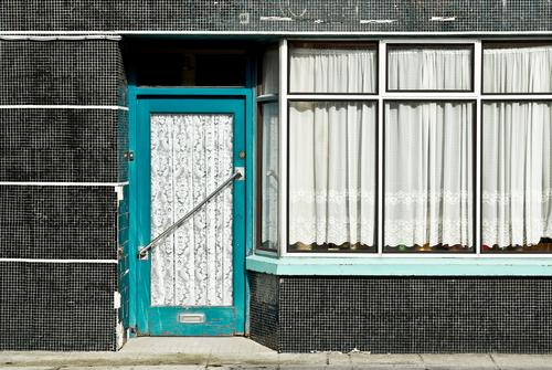closed Town Pedestrian precinct House (Residential Structure) Manmade structures Building Wall (barrier) Wall (building) Facade Window Door Old Closed Retro