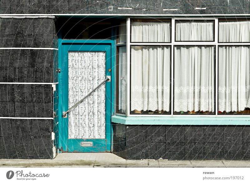 Old City House (Residential Structure) Wall (building) Window Wall (barrier) Building Door Facade Closed Retro Tile Manmade structures Store premises Turquoise Drape