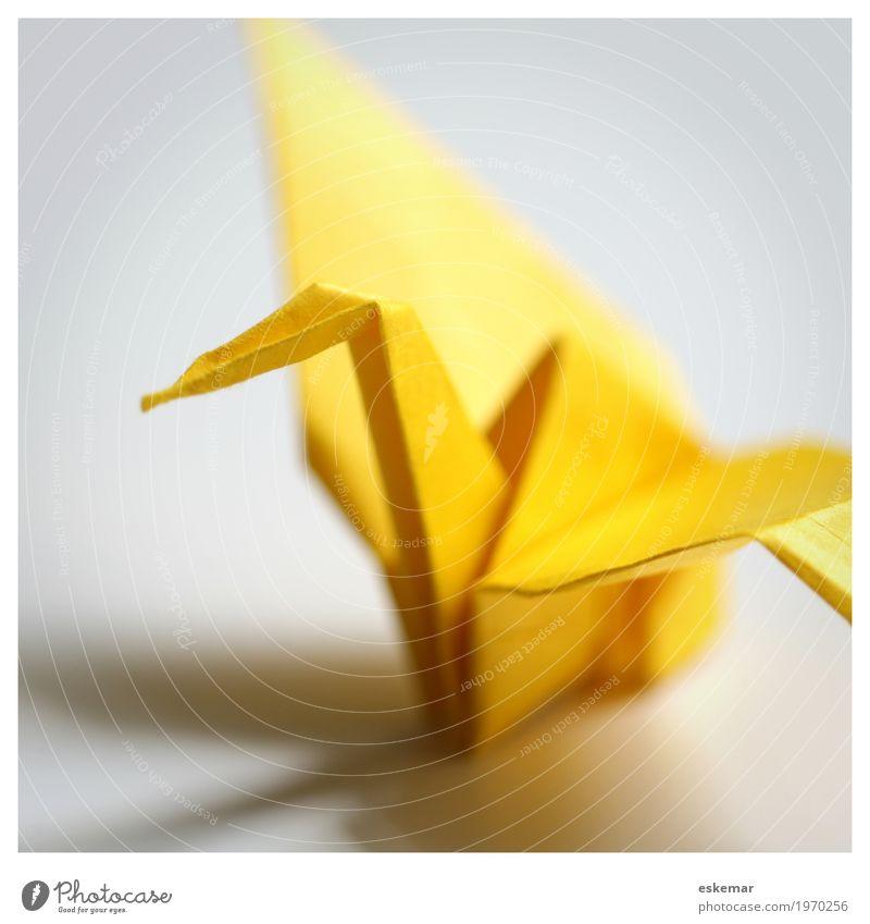 Origami Crane Leisure and hobbies Playing Handicraft Handcrafts Bird 1 Animal Paper Esthetic Elegant Friendliness Happiness Positive Yellow White Peace