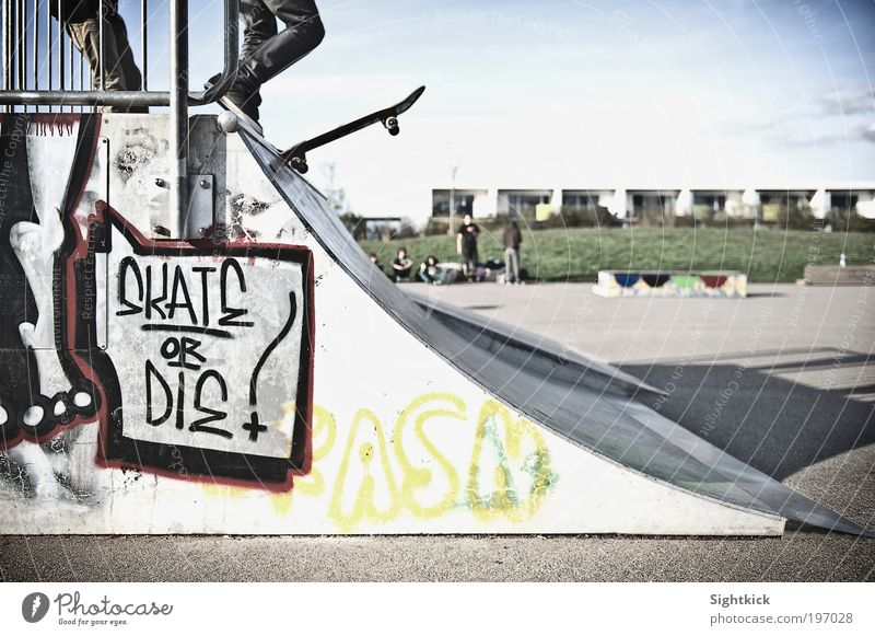 skate or the Lifestyle Leisure and hobbies Skateboard Skateboarding Halfpipe Human being Youth (Young adults) Graffiti Sports ground Colour photo Exterior shot