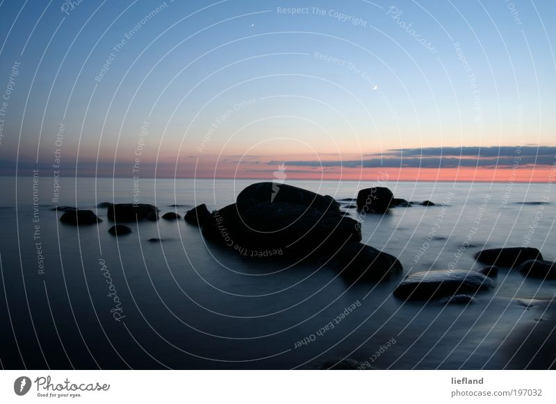 Nature Water Sky Calm Loneliness Far-off places Relaxation Style Dream Stone Landscape Moody Coast Environment Horizon Night sky