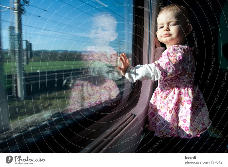 travel Vacation & Travel Trip Child Human being Toddler Girl Infancy 1 1 - 3 years Transport Passenger traffic Train travel Railroad Passenger train Looking