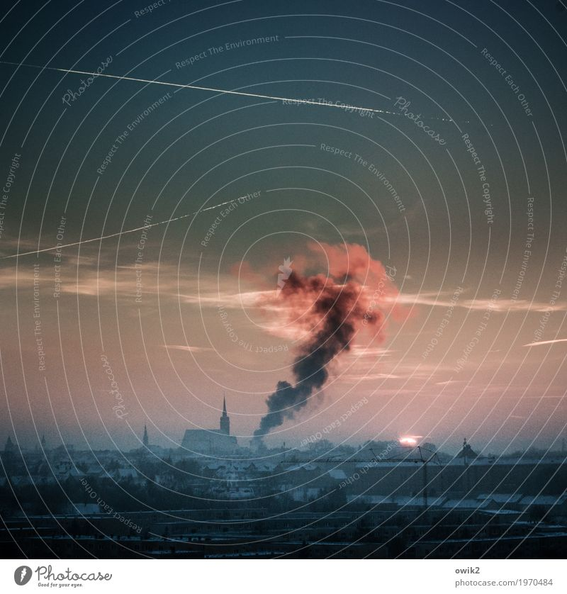 heating Bautzen Lausitz forest Germany Small Town Disaster Colour photo Exterior shot Deserted Copy Space top Copy Space bottom Evening Twilight Light Shadow