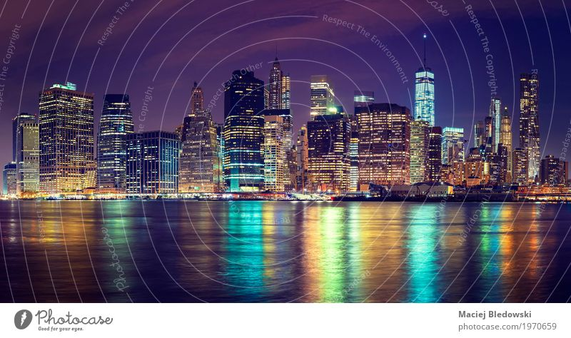 Manhattan skyline at night, Vacation & Travel Town USA Photography River Illuminate Skyline Downtown City trip Sightseeing Brooklyn Financial Hudson River