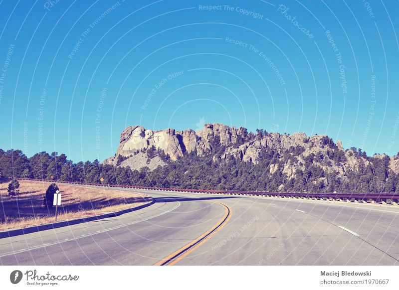 Road to Mount Rushmore National Memorial. Vacation & Travel Trip Adventure Sightseeing Summer Street Highway landmark Symbols and metaphors president