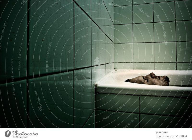 Man Green Face Dark Death Dream Fear Adults Masculine Crazy Dangerous Bathroom Threat Lie Swimming & Bathing Tile