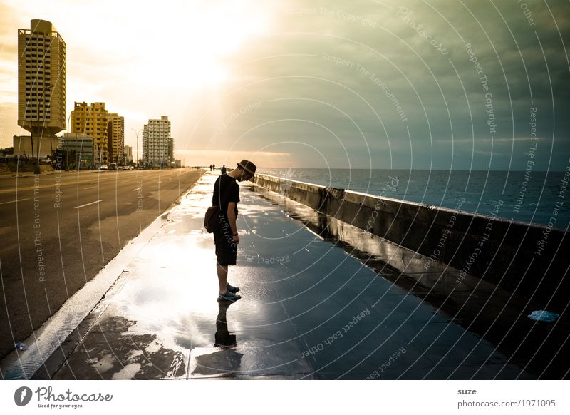 Human being Vacation & Travel Water Young man Ocean House (Residential Structure) Adults Street Lanes & trails Coast Time Contentment Masculine Transience