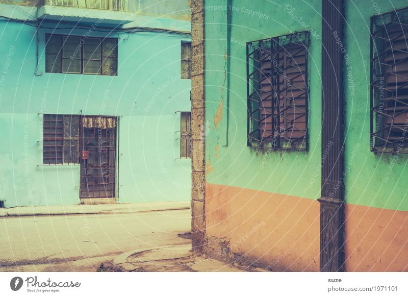 Vacation & Travel Blue Town House (Residential Structure) Street Lanes & trails Facade Retro Door Culture Poverty Closed Transience Broken Corner Historic