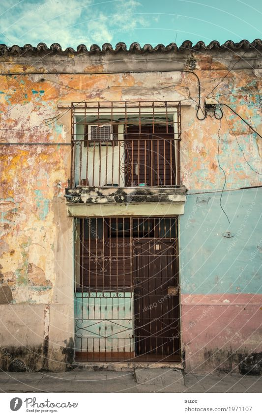 Vacation & Travel Town House (Residential Structure) Street Facade Living or residing Retro Dirty Door Gloomy Culture Poverty Transience Closed Broken Footpath