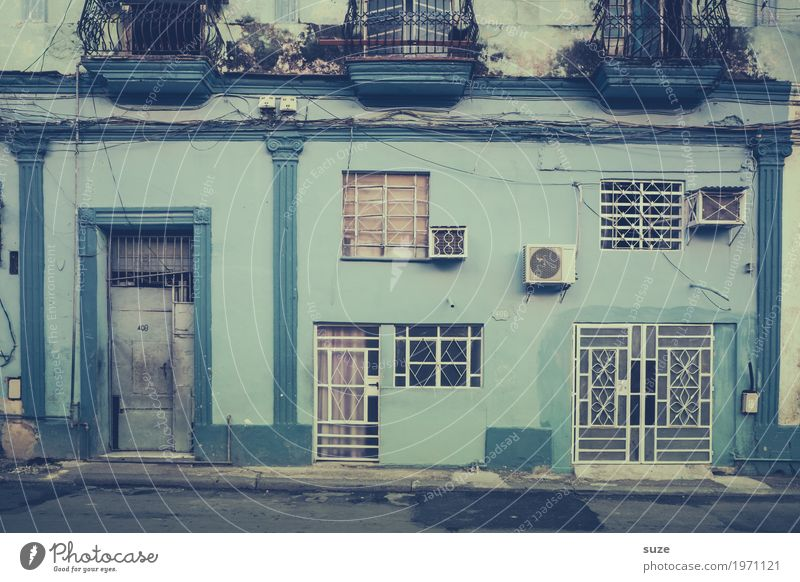 Old Blue Life Contentment Calm Vacation & Travel City trip Living or residing House (Residential Structure) Culture Town Outskirts Old town Facade Window Door