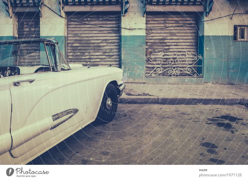 old stock Style Trip City trip Culture Capital city Old town Gate Facade Means of transport Street Car Vintage car Convertible Retro Gloomy White Past