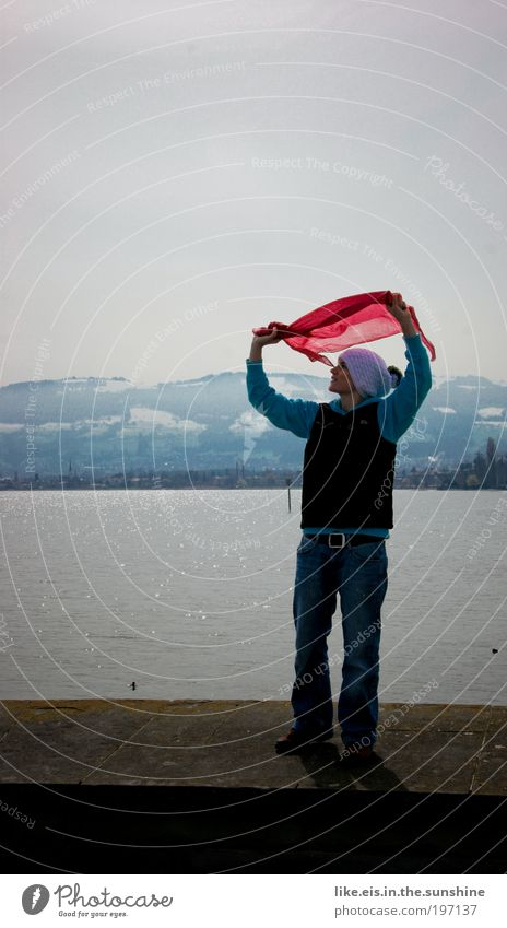 Water Sky Blue Red Joy Mountain Happy Stone Lake Glittering Wind Flying Free Happiness Adventure Joie de vivre (Vitality)