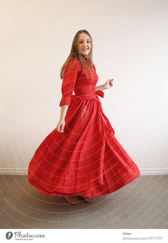 . Room Feminine Woman Adults 1 Human being Dress Barefoot Blonde Long-haired Observe Movement Rotate Looking Dance Happiness Beautiful Red