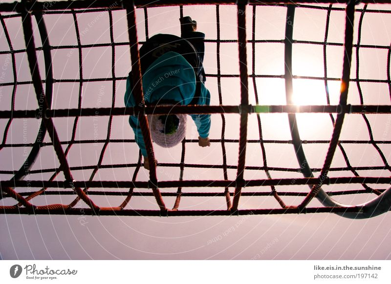 the world is upside down Leisure and hobbies Playing Climbing Playground climbing scaffold Net 1 Human being Sky Sun Sunlight Cap Steel Laughter Happiness Blue