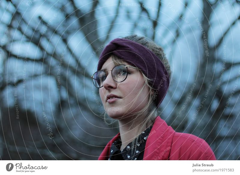 where I'm looking Feminine Woman Adults 1 Human being 18 - 30 years Youth (Young adults) Sky Tree Coat Blouse Eyeglasses Headband Looking Wait Beautiful Blue