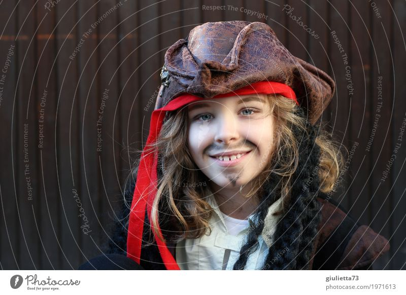 Human being Child Beautiful Life Natural Boy (child) Happy Brown Blonde Infancy Smiling 8 - 13 years Facial hair Carnival Hat Long-haired