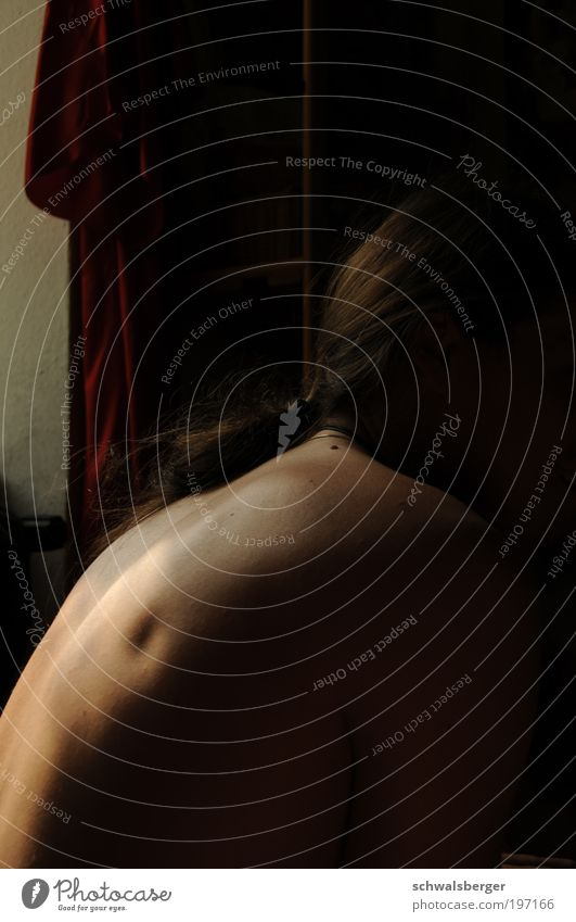 Human being Calm Loneliness Dark Window Naked Think Dream Elegant Skin Wait Masculine Esthetic Serene Past Long-haired