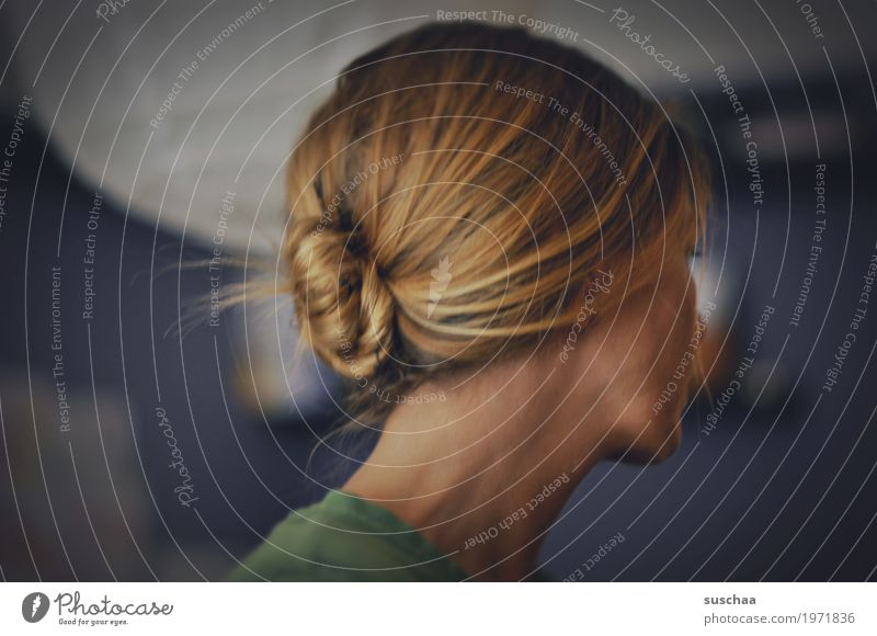bun Hair and hairstyles Interconnected Chignon Knot Head Woman Neck Looking away