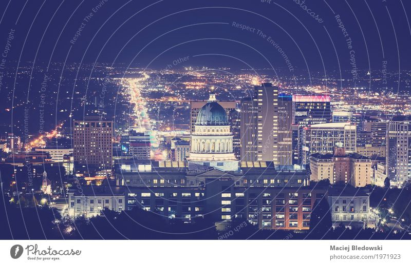 Salt Lake City downtown at night. Downtown Skyline High-rise Building Tourist Attraction Landmark Monument Street Vacation & Travel USA vintage