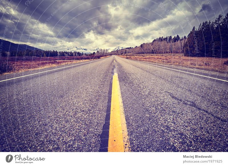 Scenic road on a cloudy day. Vacation & Travel Landscape Far-off places Street Freedom Trip Retro Happiness USA Adventure Cycling tour Asphalt Summer vacation