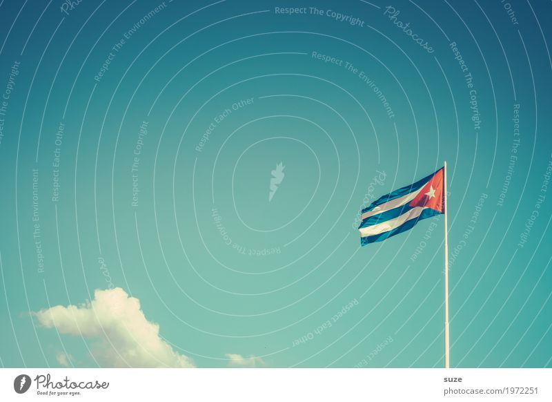 Sky Summer Blue Red Clouds Movement Time Freedom Culture Wind Transience Change Past Sign Flag Cuba
