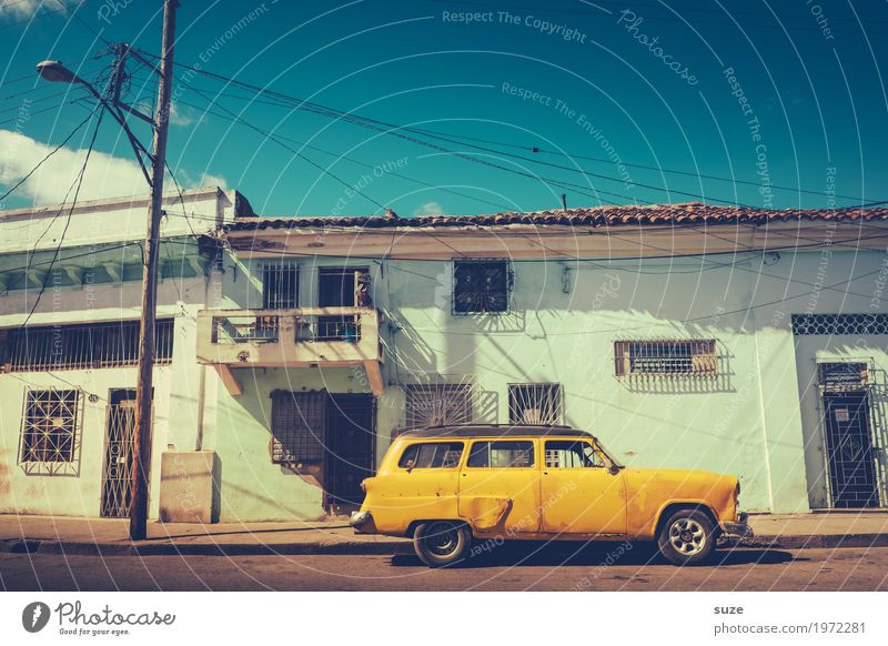 Vacation & Travel Old Summer Street Lifestyle Yellow Time Exceptional Design Car Retro Esthetic Fantastic Transience Cool (slang) Past
