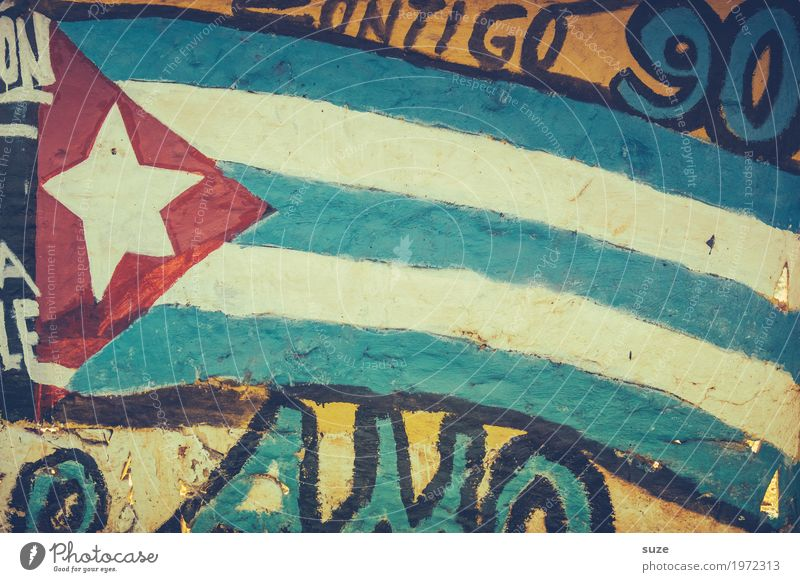 Blue Red Graffiti Wall (building) Style Art Wall (barrier) Freedom Culture Poverty Transience Star (Symbol) Change Past Flag Cuba