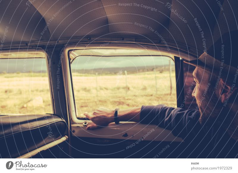 Human being Vacation & Travel Youth (Young adults) Man Old Summer Young man Travel photography Adults Lifestyle Car Window Time Masculine Retro Culture