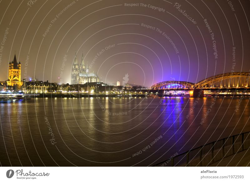 Köln Vacation & Travel Tourism City trip Water Night sky River bank Cologne Germany Europe Town Dome Bridge Tourist Attraction Landmark Cologne Cathedral Black