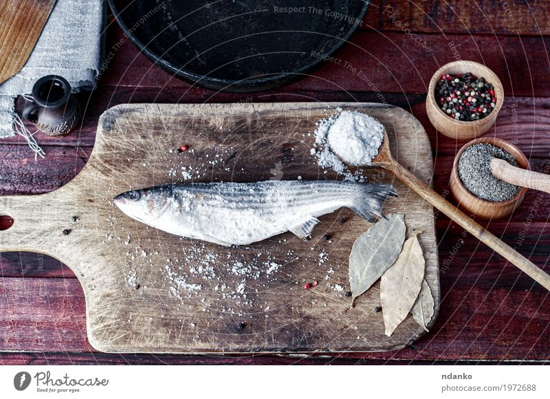 Fresh fish smelt spices for cooking on a kitchen board Nature Green Eating Natural Wood Food Brown Above Nutrition Fresh Table Fish Herbs and spices Ground Kitchen Bowl