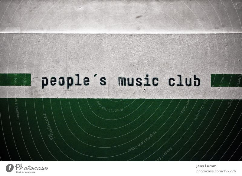 People's music club Night life Event Music Club Disco Going out Feasts & Celebrations Dance Green White Joy Wall (building) Dirty Stencil letters Colour photo