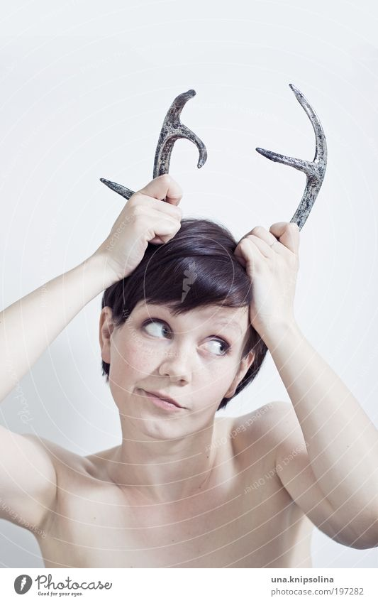 Human being Woman Youth (Young adults) Young woman 18 - 30 years Adults Feminine Head Fashion Wild Smiling Crazy Antlers Brash Accessory Animal