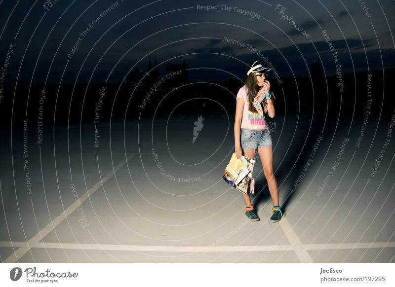 where to? Lifestyle Night life Feasts & Celebrations Student Apprentice Media industry Human being Woman Adults 1 T-shirt Cap Long-haired Looking Dream
