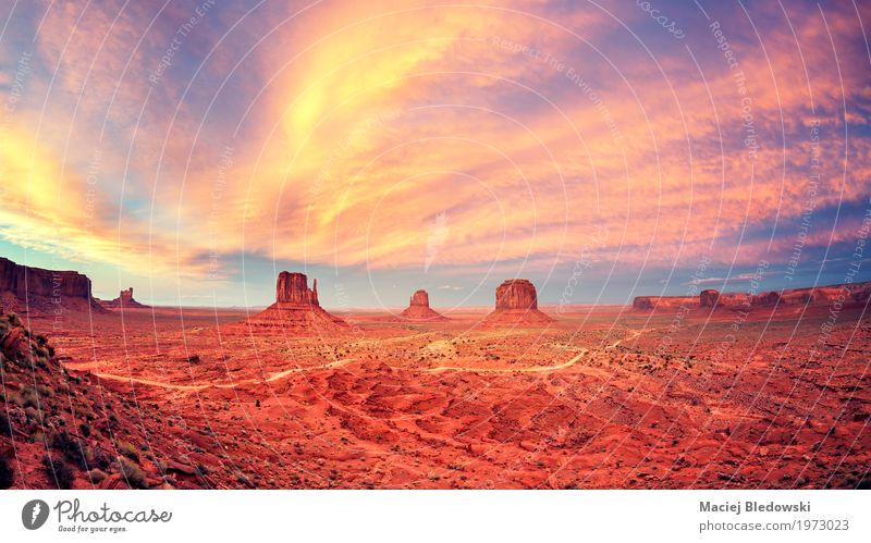 Monument Valley after sunset. Vacation & Travel Summer Landscape Lanes & trails Freedom Park Hiking Retro USA Adventure Summer vacation Sightseeing Canyon
