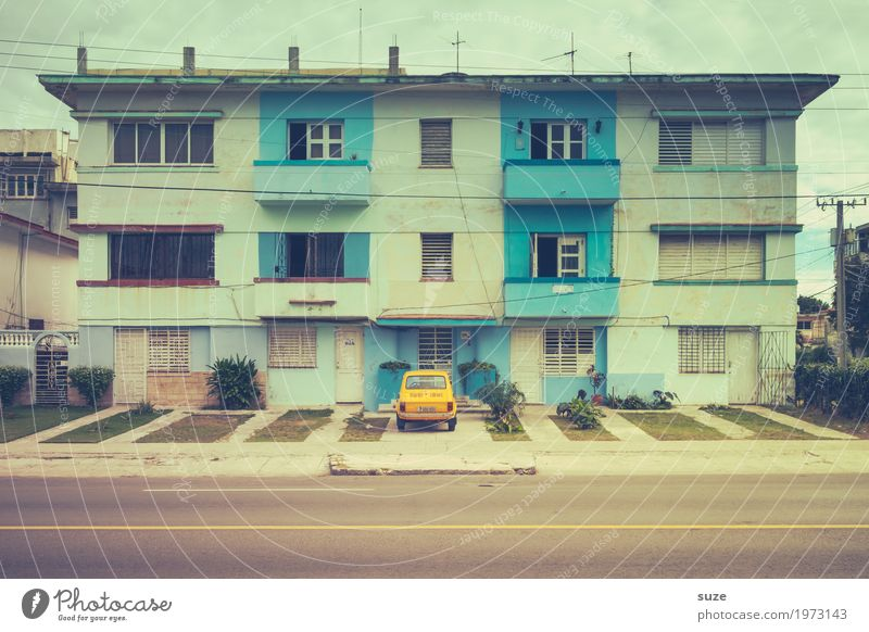 Vacation & Travel Town House (Residential Structure) Window Street Yellow Small Facade Living or residing Contentment Car Retro Door Culture Poverty Cute