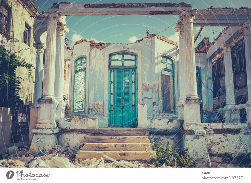 Broken | open for new things Vacation & Travel Living or residing House (Residential Structure) Life Culture Outskirts Ruin Stairs Facade Window Door Poverty