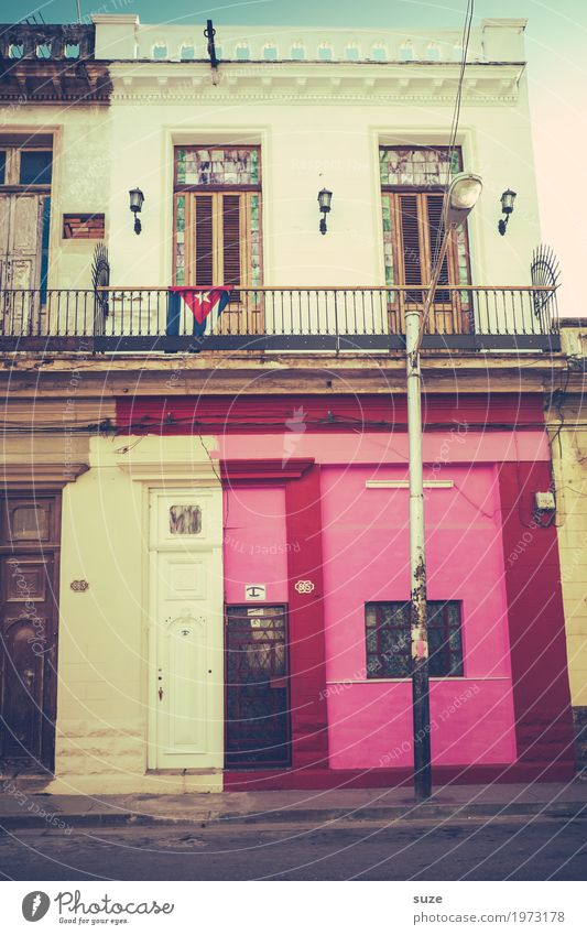 Vacation & Travel Old House (Residential Structure) Window Street Life Feminine Time Pink Facade Living or residing Retro Dirty Culture Poverty Transience