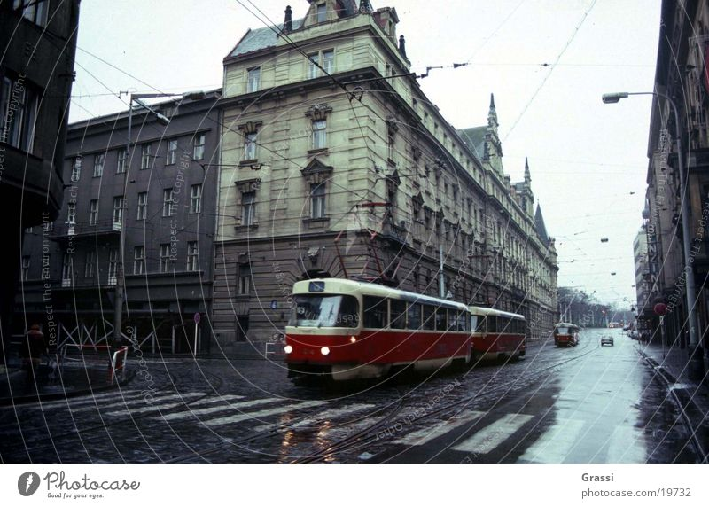 Prague 3 Tram Street Commuter trains Railroad Railroad tracks Town Middle Means of transport Zebra crossing Traffic light Soviet Union