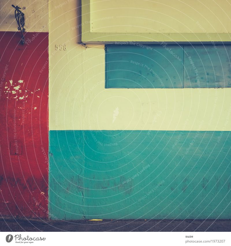 Old Blue Red Wall (building) Background picture Style Facade Design Retro Dirty Gloomy Culture Authentic Poverty Transience Broken