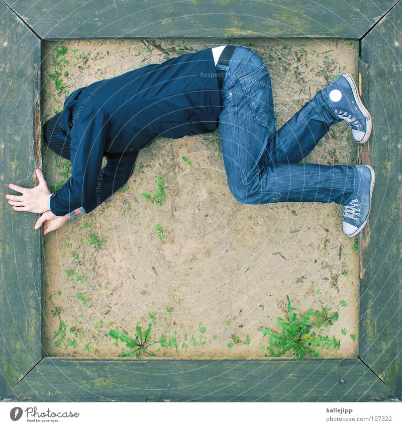 sandbox rocker Human being Masculine Man Adults 1 Jeans Jacket Sneakers Cap Playing Sandpit Playing field Frame Corner Wood Dandelion Colour photo Exterior shot