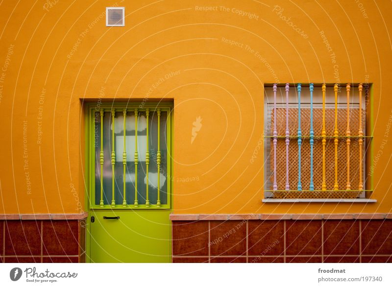 color space House (Residential Structure) Wall (barrier) Wall (building) Facade Window Door Hip & trendy Uniqueness Multicoloured Green Minimalistic Orange