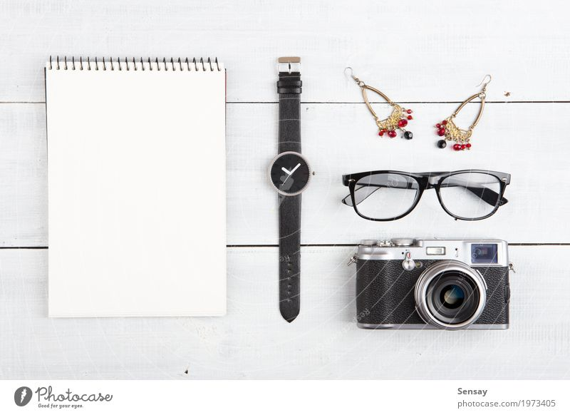 woman travel concept - set of camera, notepad, watch etc Woman Vacation & Travel Old White Red Girl Black Adults Wood Small Business Office Retro Vantage point
