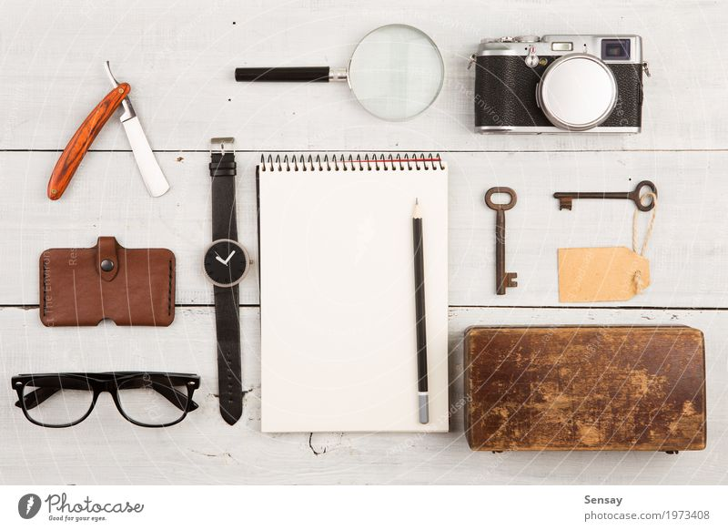 travel concept - set of cool stuff with camera Vacation & Travel Man White Adults Fashion Office Vantage point Table Photography Observe Things Cool (slang)