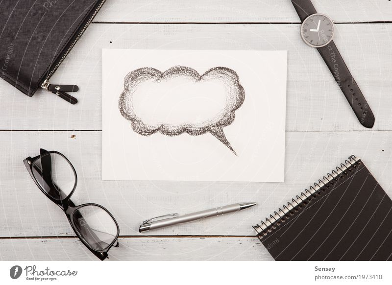 Cloud for a text drawn with a pencil White Hand Clouds Black Wood Art Design Line Office Table Idea Observe Paper Illustration Reading Draw
