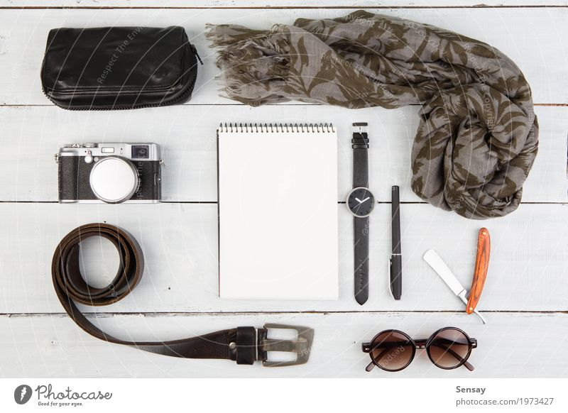 Travel concept - set of cool men's stuff Style Vacation & Travel Tourism Trip Desk Table Business Camera Fashion Leather Accessory Sunglasses Scarf Pack Pen