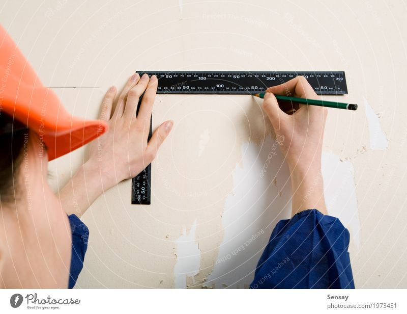 Worker with corner and pencil in hand Decoration Wallpaper Work and employment Craftsperson Tool Woman Adults Hand Gloves Paper Old Blue Protection Home