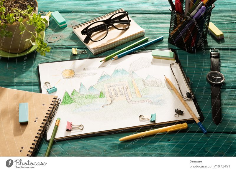 Environmental concept l drawing Lifestyle Design Desk Table Child Work and employment Workplace Office Factory Industry Business Hand Art Book Nature Plant