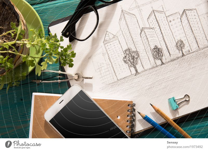 Real estate concept - sketch of architecture on the desk Plant Blue Town White Tree House (Residential Structure) Architecture Building Business Design