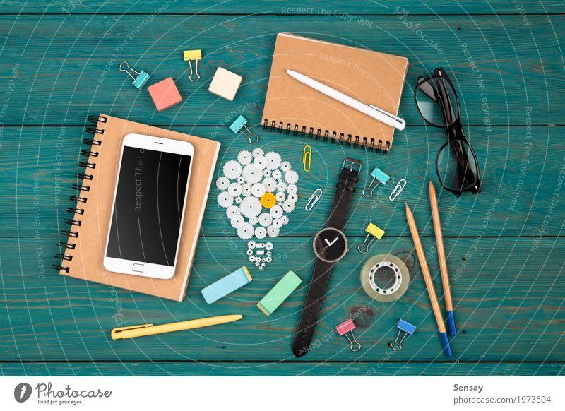 Idea concept Blue Business Copy Space Office Technology Vantage point Creativity Computer Idea Observe Planning Reading Telephone Symbols and metaphors Inspiration Desk